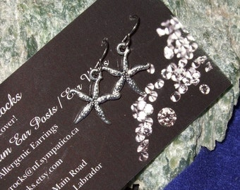 Silver Coloured Starfish Dangle Earrings Earings Titanium Ear Wires Handmade in Newfoundland Hypo Allergenic