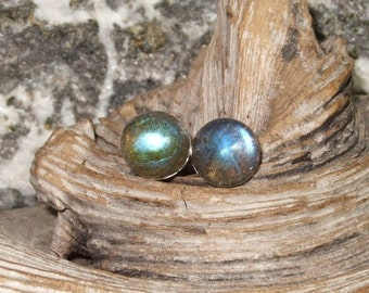 Labradorescence Exists 8mm Round Cabochon Labradorite Stud Earrings Earings Titanium Post and Clutch Flash Sparkly Magic Hypo Allergenic