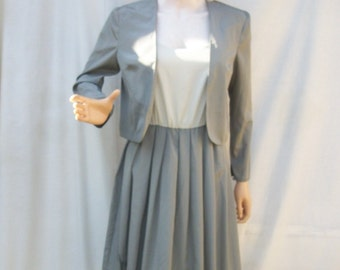 80s Gray Sundress and Jacket size Small Caron Two Tone Dress with Jacket