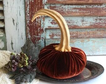 Large Velvet Pumpkin Handmade by avintageobsession on etsy