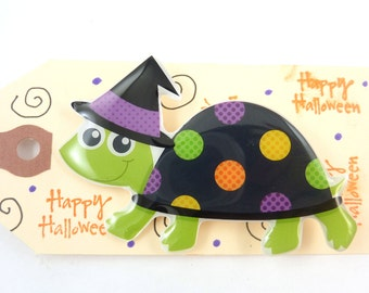 Halloween Pin or Brooch. Turtle Witch Halloween Jewelry. Handmade by me.