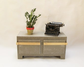 """Concrete Tv stand. """"Strongbox"""" side table Industrial Tv console. Record player console. Media Cabinet, Entertainment Center, Urban Furniture"""
