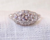 RESERVED for Elizabeth do not purchase if you are not Elizabeth Art Deco Platinum Diamond Engagement Ring 1.36 Carat