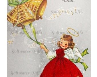 Christmas Angel Ringing Gold Bell Card Image Digital Download vintage transfer card holiday xmas christmas card vintage 1950s red dress bell