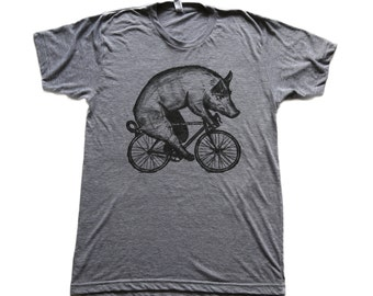 Pig on a Bicycle - Mens T Shirt, Unisex Tee, Tri Blend Tee, Handmade graphic tee, sizes xs-xxl
