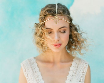 "Boho elegant wedding head chain with gold and ivory detailing ""Ames"""