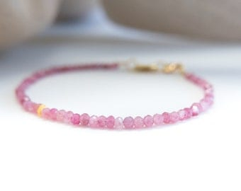 Pink Tourmaline October Birthstone Solid Gold Fine Jewelry Ombre Bracelet with Gold Accent Bead Gift for Mother Her Daughter Girlfriend Wife