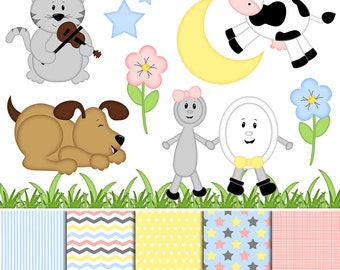 Hey Diddle Diddle Nursery Rhyme Digital Clipart & Paper - Set of 14 - Cow, Moon, Cat, Dog, Flowers - Instant Download - Item#9143