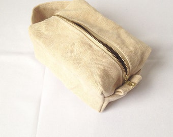 Wax Canvas Makeup Bag. Toiletry Bag Women. Waterproof Toiletry Bag. Cosmetic Bag for Women. Gift Idea for Her. Makeup Case. Travel Bag Women