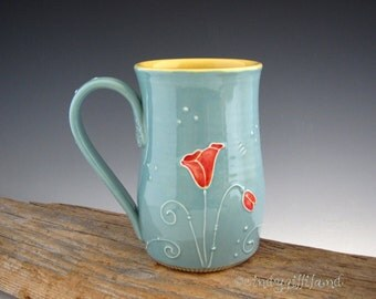 Pottery Mug in Vintage Turquoise with Red Poppy - Coffee Mug - Tall Mug - by DirtKicker Pottery