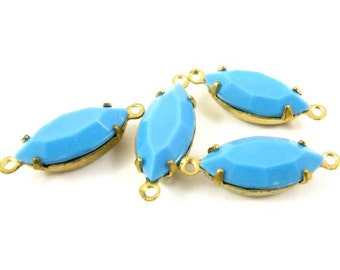 4 - Vintage Glass Faceted Navette Stones in 2 Rings Closed Back Brass Prong Settings - Opaque Sky Blue - 15x7mm
