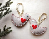 2 Lovebirds - Felt Bird Ornaments - Wedding Gift - Engagement Gift - Holiday Gift for Couple - Two Turtle Doves