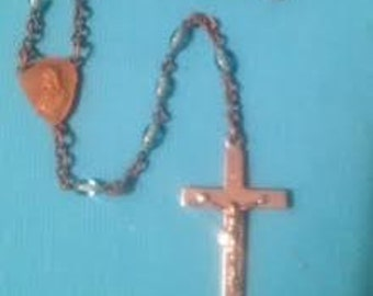 Vintage Rosary Religious Christian Relic Blue Glass Beads
