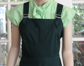 1940s WWII Vintage style Overalls. Cute and Comfortable. Forest green drill