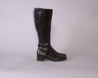 Vintage 90s RIDING BOOTS / 1990s Sleek Black Fitted Donald J Pliner Knee High Boots 8