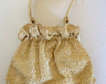 Vintage White Beaded Antique Purse