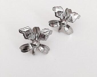 Vintage Orchid Earrings Screw Backs Silver Tone Metal