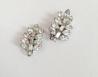 Vintage Rhinestone Leaf Earrings Clip On