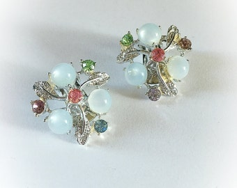 Vintage Moonglow Lucite and Rhinestone Earrings Clip On