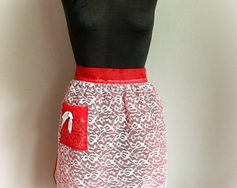 Vintage Red Nylon and White Lace Apron