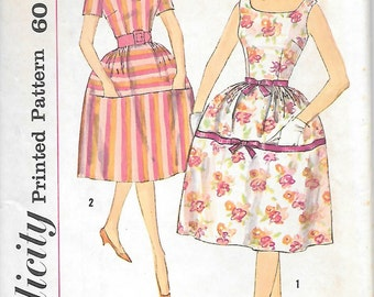 Simplicity 3876 UNCUT 1960s Scoop Neck Bell Shaped Skirt Dress Vintage Sewing Pattern  Bust 32 or 34