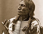 Broken Arm, Professionally Restored Vintage Native American Photograph Reprint of Oglala Sioux Man by Herman Heyn