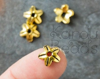 15 gold Color Metal Decorative Flower Concave Spacer Bead Cap Beads  8mm x 8mm