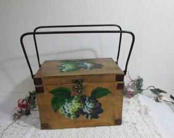 Wood Box Keepsake Chest Storage Hand Painted Grapes Metal Handles