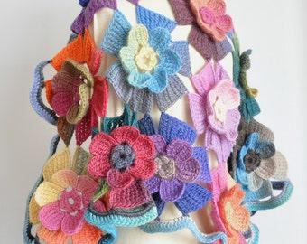 Bat Spell - Crochet Multicolor 3D Flower Shawl/Cape