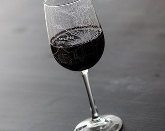Seattle Map Wine Glass