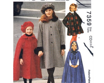 Girls Hooded Cape, Raglan Swing Coat, Beret Hat Pattern McCalls 7359 Long Cloak Size 2 3 4 Girls Sewing Pattern UNCUT
