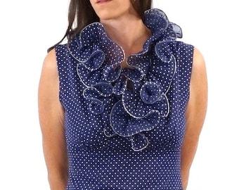 vintage RUFFLE collar blue + white dot MAXI dress S-M