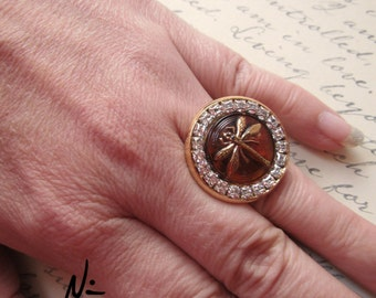 Dragonfly Amber Rhinestone Adjustable Gold Plated Ring