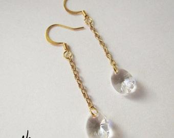 22K Gold Dangling Swarovski Crystal Earrings