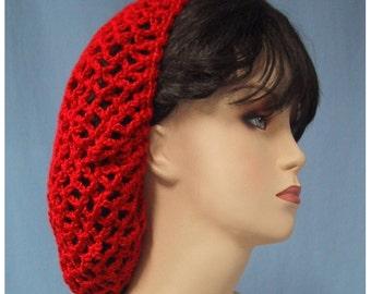 Red Snood - Crocheted - Handmade - Food Service Hair Net - Nice Gift - Dickens Christmas Accessory - 1940s Retro Look - Ren-Faire HairNet