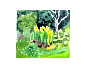 Island garden- original watercolor painting