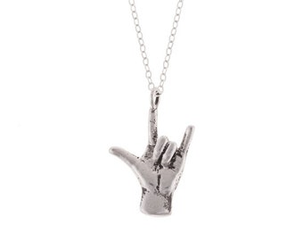 I LOVE YOU necklace // sign language ILU hand in Sterling Silver