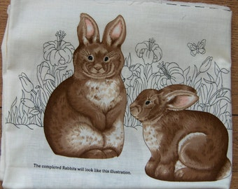 cranston fabric panel stuffed Rabbit Bunnies children toy pillows
