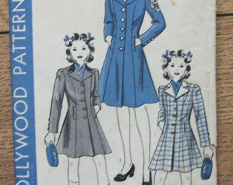 vintage 1940s Hollywood pattern 600 girls child coat and hat unprinted patterns sz 6 years