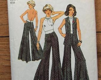 Vintage 1973 Simplicity pattern 5611 Misses Halter Top, Unlined vest, Wide Leg Pants sz 10 B 32 1/2