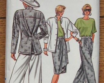 vintage 80s vogue pattern 9636 misses jacket skirt pants top sz 8-10-12 uncut