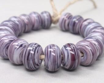 White Swirls  - 20 Handmade Lampwork Beads SW 206