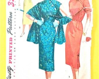 1950s Simplicity 1447 Misses' Dress and Stole Wrap Dress Cheongsam Oriental Sheath Mandarin Collar Women's Vintage Sewing Pattern Bust 29