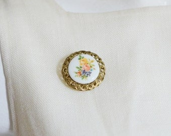 70s/80s Floral Circle Brooch