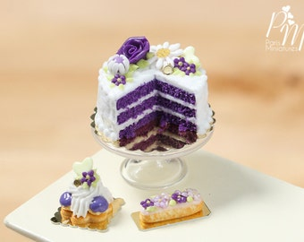 Purple Velvet Layer Cake - Miniature Food for Dollhouse 12th scale 1:12