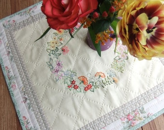 10% OFF - Table centre piece hand embroidery hand quilted spring flowers