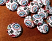 "Babes of the Dead - Green Eyes 1"" Pin Back Buttons - Fantasy Art, Art Print, Goddess, Day of the Dead, Face, Portrait, Cameo, Artwork, Pins"