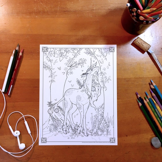 Adult Coloring Sheet Unicorn Heart of the Forest 2 files