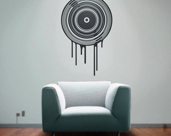 vinyl wall decal art- dripping record, lp art, music lover, record collector art, FREE SHIPPING
