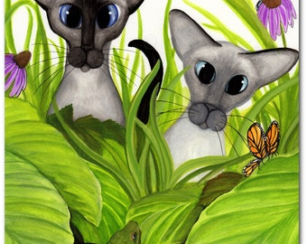 Siamese Oriental Cats - Garden Turtle Butterflies - Art Print by Bihrle Signed ck502